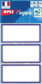 Agipa schooletiketten ft 75 x 34 mm (b x h), 24 etiketten per etui, blauwe rand