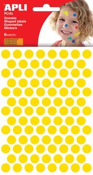 Apli Kids stickers, cirkel diameter 10,5 mm, blister met 528 stuks, geel