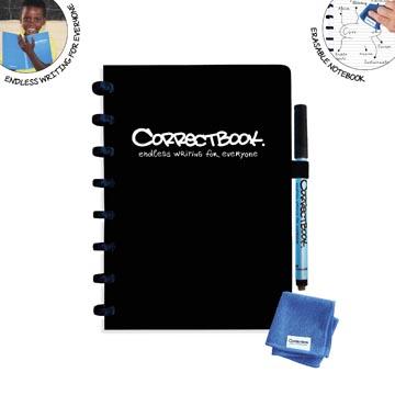Correctbook A5 Original: uitwisbaar / herbruikbaar notitieboek, gelijnd, Ink Black (zwart)