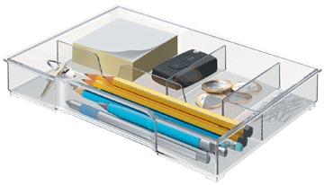 Leitz opbergbak, voor ladenblokken uit Plus en WOWserie, 4 vakken, transparant