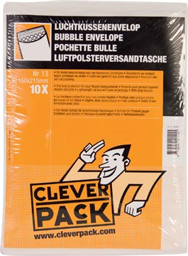 Cleverpack luchtkussenenveloppen, ft 150 x 215 mm, met stripsluiting, wit, pak van 10 stuks