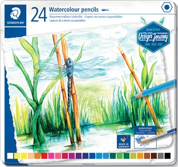 Staedtler aquarel potlood, metalen doos met 24 kleuren