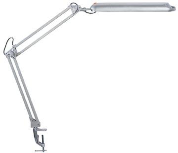Maul spaarlamp Maulatlantic met bureauklem, zilver