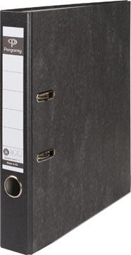 Pergamy ordner, voor ft A4, uit karton, rug van 5 cm, gewolkt zwart
