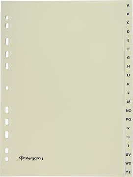 Pergamy tabbladen, ft A4, uit karton, A-Z, 11-gaats perforatie, beige