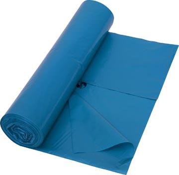 Vuilniszak 42 micron, ft 65 + 50 x 135 cm, blauw, rol van 10 stuks