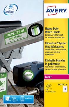 Avery L4776-20 ultra-sterke etiketten ft 99,1 x 42,3 mm (b x h), 240 etiketten, wit