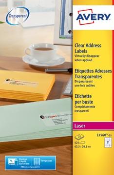 Avery L7560-25 adresetiketten ft 63,5 x 38,1 mm (b x h), 525 etiketten, transparant